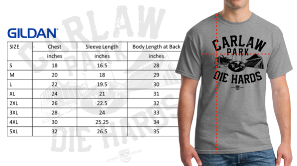 CARLAW PARK DIE HARDS  TSHIRT SIZE CHART-848