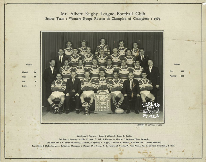 Mt Albert Rugby Legaue Senior Team 1964