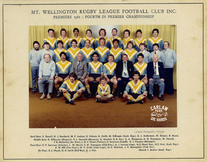 Mt Wellington Rugby League Premier Team 1981