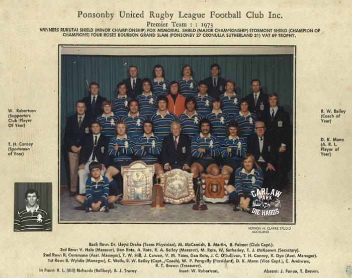 Ponsonby United Rugby League Premier Team 1973