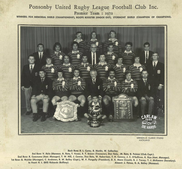 Ponsonby Untied Rugby League Premier Team 1972