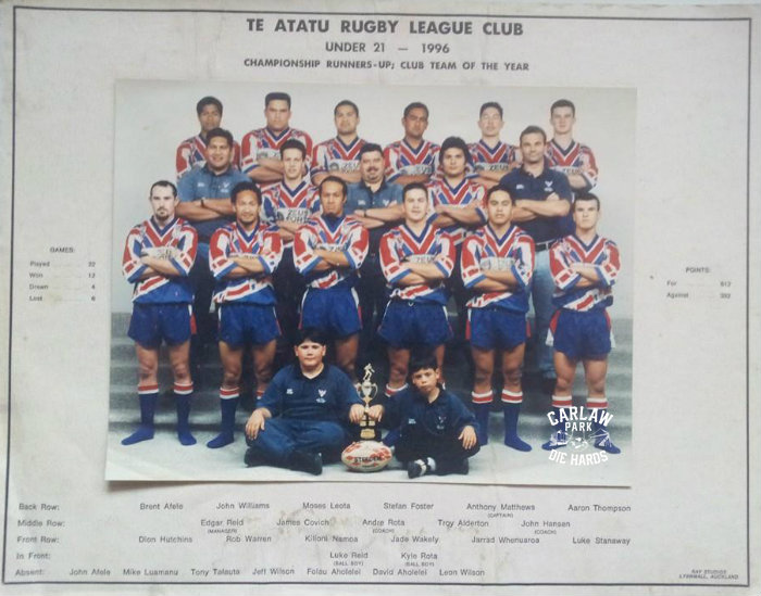Te Atatu Rugby League U21 Team 1996