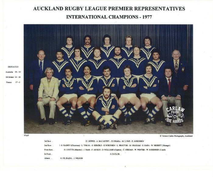 Auckland Rugby League Premier Team International Winners 1977